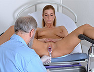 Chrissy, 23 years girl gyno exam. Examination with physicals, two thermometers, bimanual and anal exam, douche, clitoris sensitivity, perineum exam, two speculums and glass dildo heartbeat orgasm